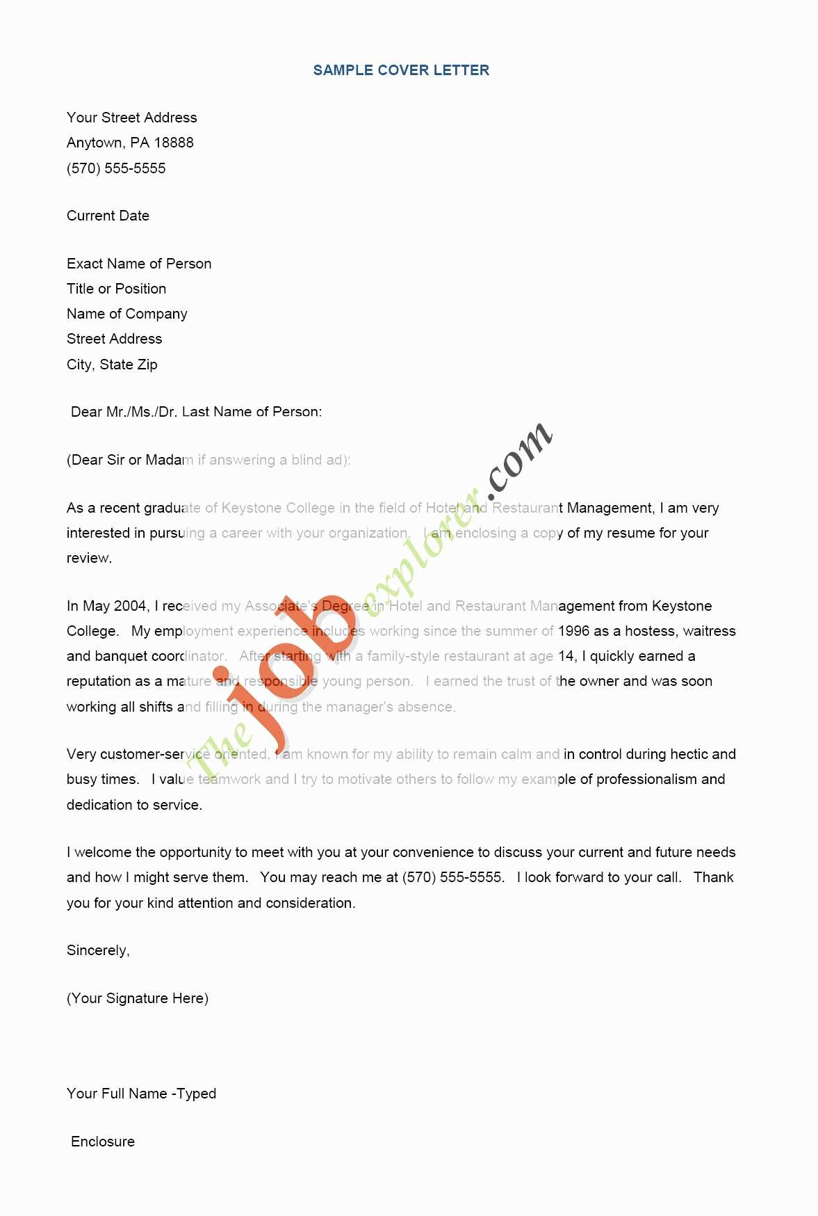 Sample Cover Letter Template - Unique Letter Template format