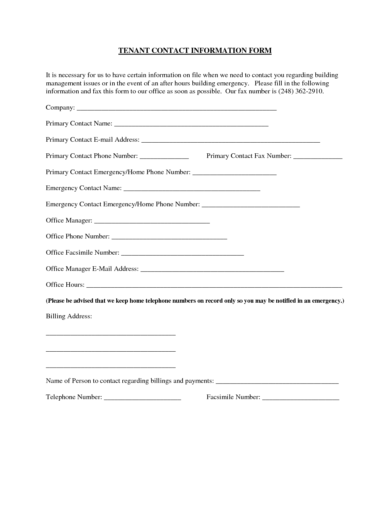 Landlord Eviction Letter Template - Updated Contact Information form Template Acurnamedia