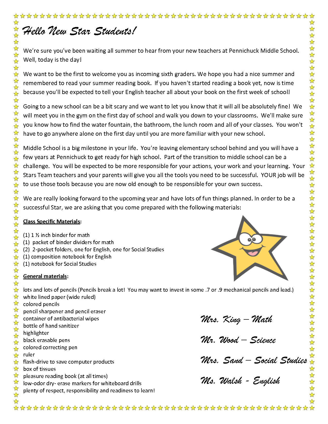 Teacher Welcome Letter Middle Template on parent welcome, parent introduction, appreciation thank you, welcome back, free new, thank you, gift donation, end year,