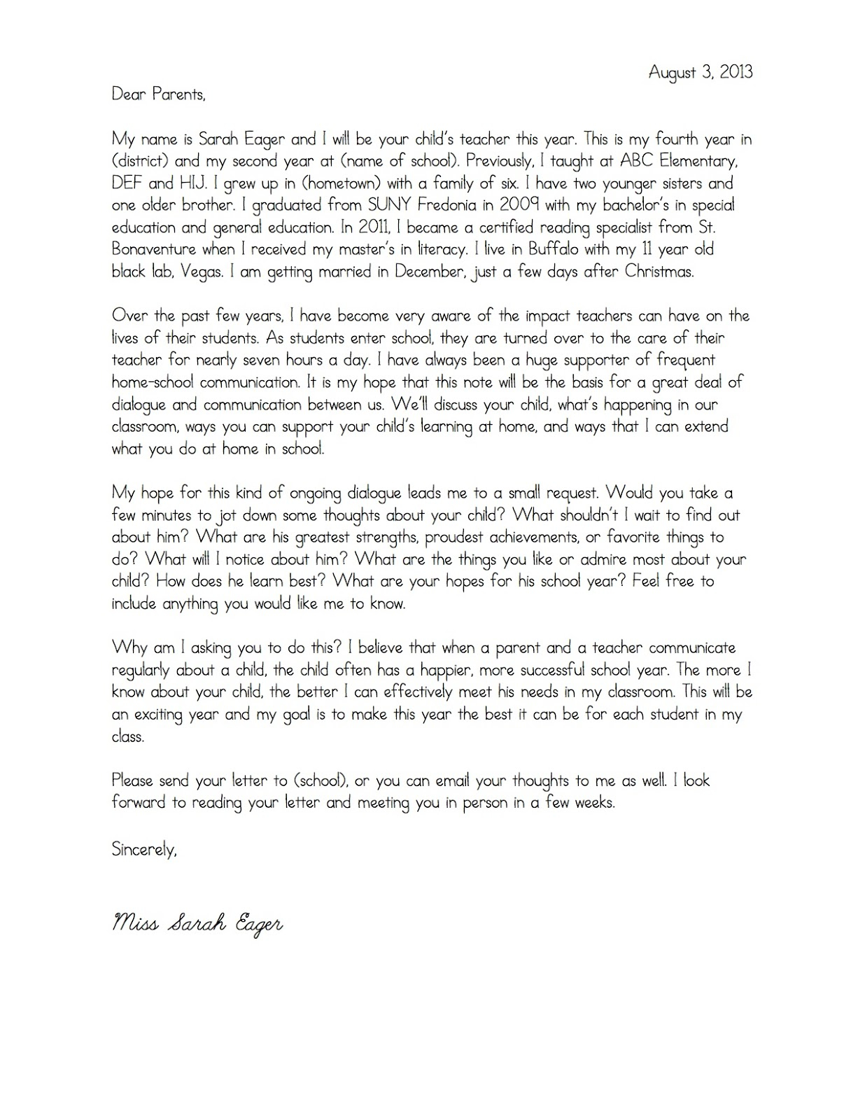 Kindergarten Welcome Letter Template - Wel E Parent Letters From Teachers Copy Email Email to Parents