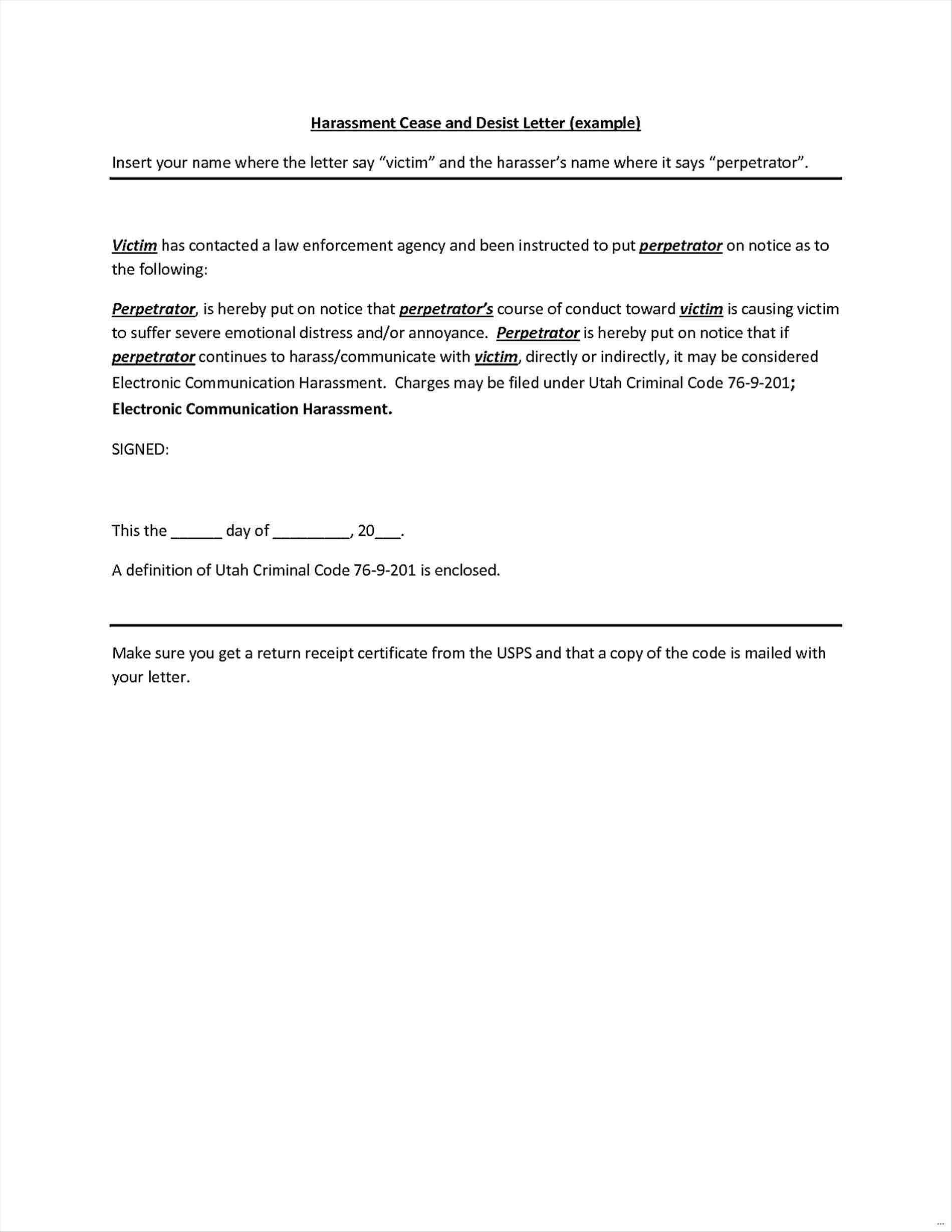 Cease and Desist Letter Harassment Template - What is A Cease and Desist Letter Awesome Cease and Desist Template