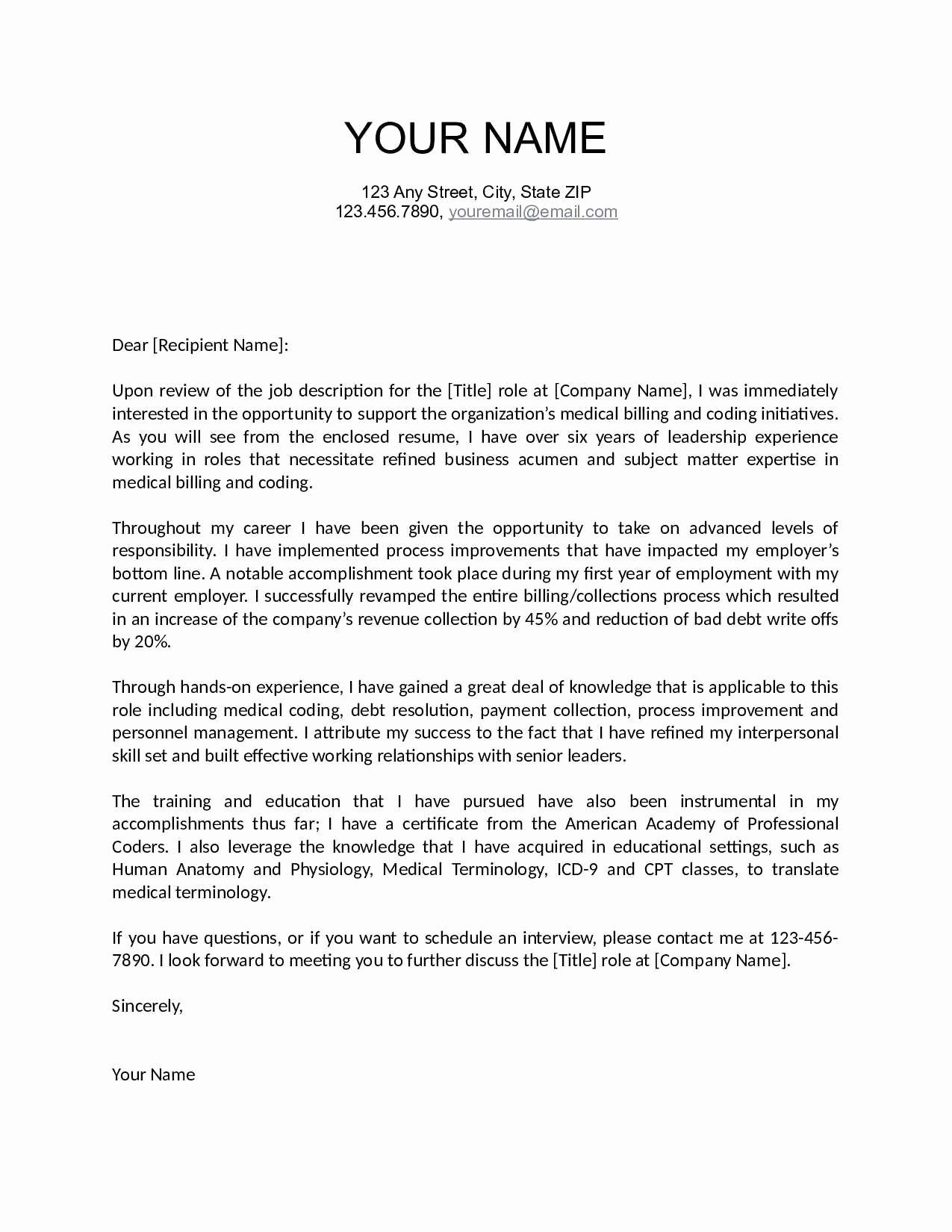 Proper Cover Letter Template Collection